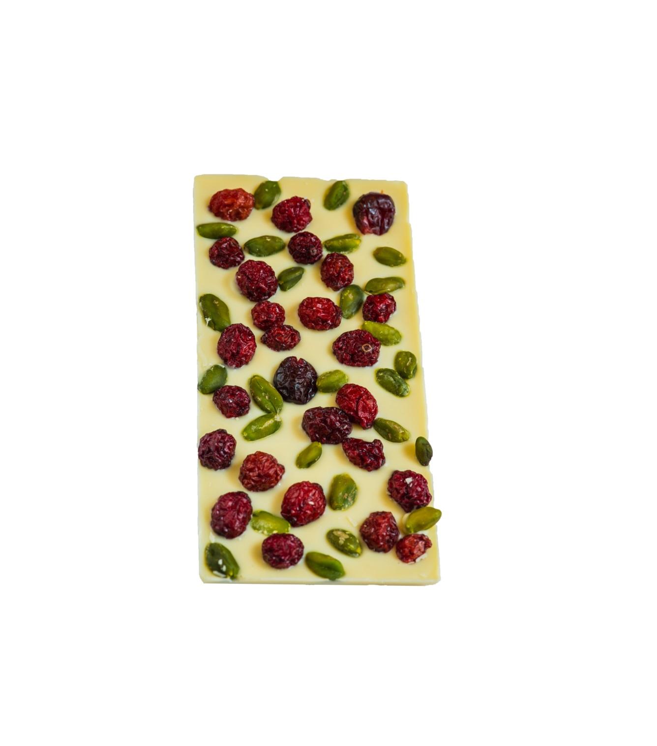 Maiasmoka kohviku käsitööšokolaad, valge šokolaad pistaatsia ja kirsiga